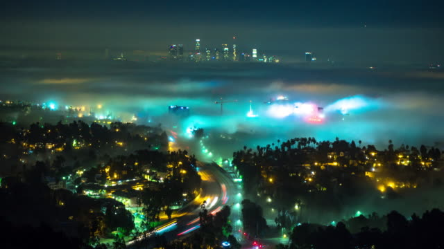 Hollywood and DTLA on a Foggy Night - Time Lapse video