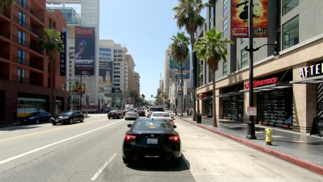 hollywood blvd xxi synced series front view driving process plate - guardare il paesaggio video stock e b–roll