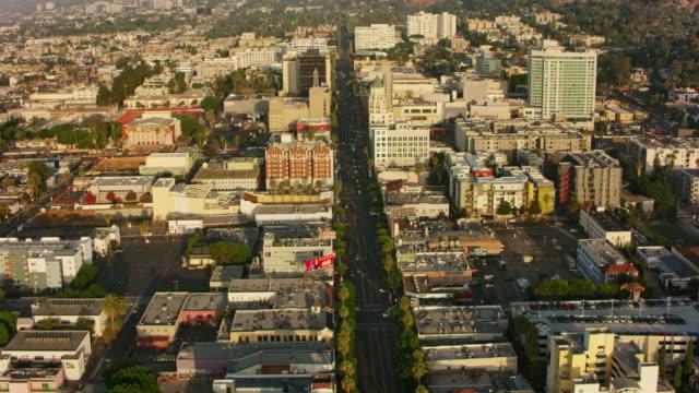 AERIAL Hollywood Boulevard in Los Angeles, California