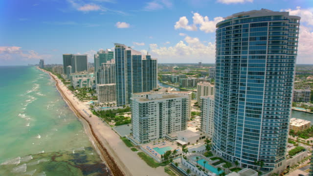 aerial hollywood, florida - località turistica video stock e b–roll