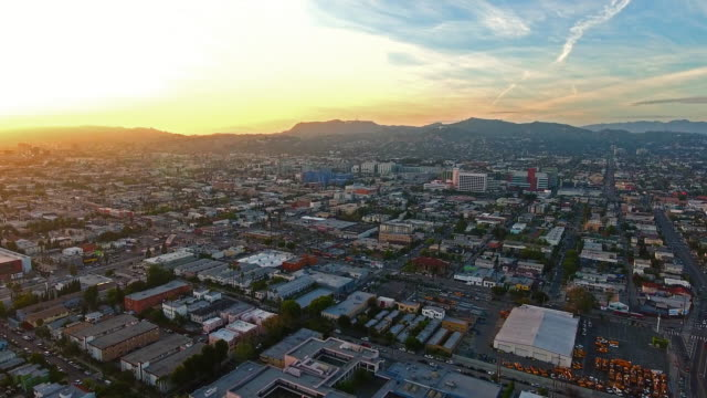 Hollywood Sunset Aerial Hollywood Sunset Aerial east stock videos & royalty-free footage