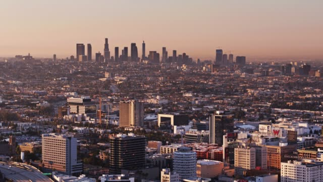 hollywood to downtown la in the morning - drone shot - città diffusa video stock e b–roll