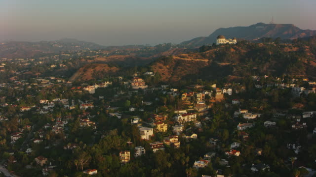 AERIAL Hollywood with Griffith Observatory on the slope of Mt. Hollywood in the morning