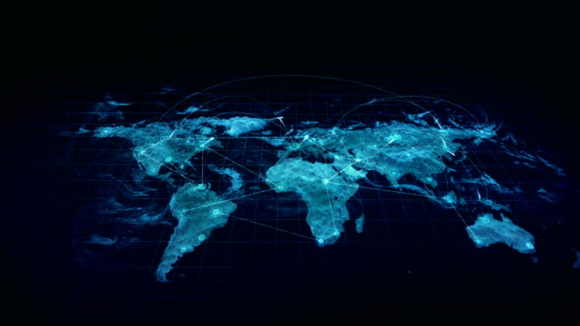 Hologram Connections World Map Blue