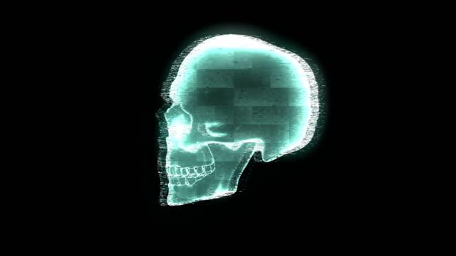 3D hologram human skull on black background.