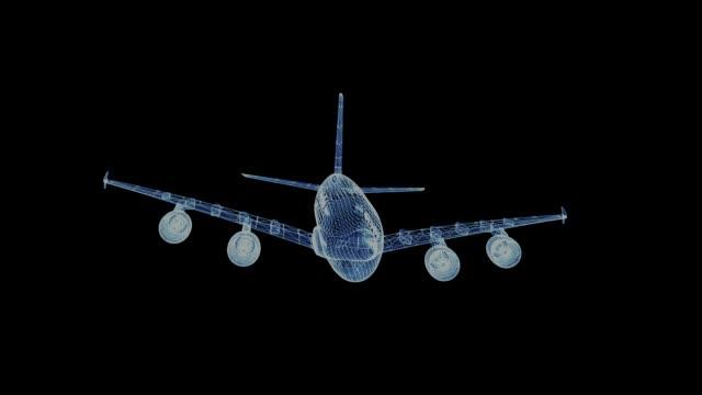 대형 여객기의 홀로그램 - 항공 비행체 스톡 비디오 및 b-롤 화면