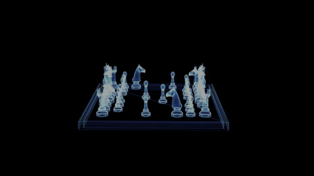 vídeos de stock e filmes b-roll de hologram of a rotating chessboard with figures - xadrez