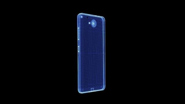 hologramm eines rotierenden modernen smartphones aus partikeln - graphische benutzeroberfläche stock-videos und b-roll-filmmaterial