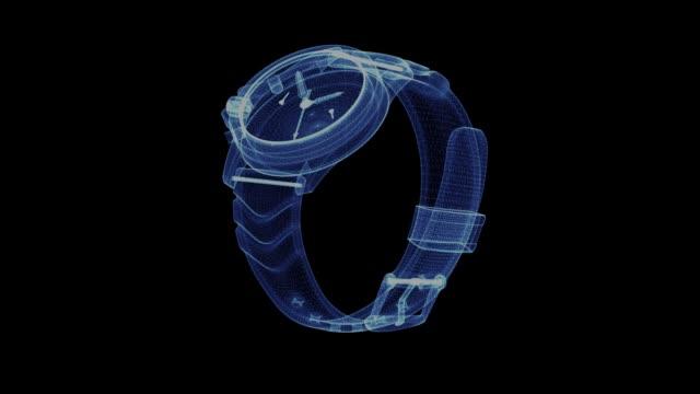 hologramm der eine rotierende armbanduhr - kleine uhr stock-videos und b-roll-filmmaterial