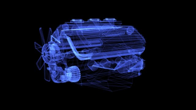 Hologram of auto engine Hologram of powerful motor. 3D animation of auto engine on a black background with a seamless loop engine stock videos & royalty-free footage