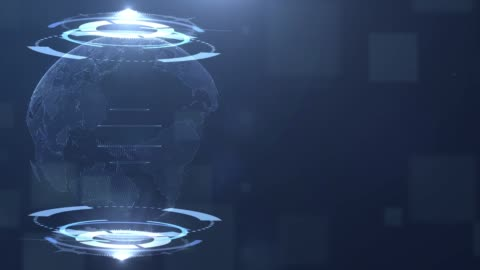 hologramm der erde auf hud, technik-hintergrund - hologramm stock-videos und b-roll-filmmaterial