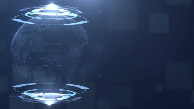 vídeos de stock, filmes e b-roll de holograma da terra no hud, fundo de tecnologia - holograma