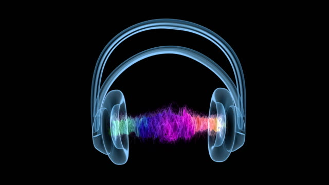 hologram of headphones with colorful sound wave. - frequenza video stock e b–roll
