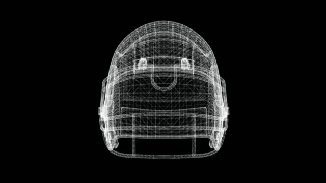 hologram screen 3d object of a football helmet - loop - modalità wire frame video stock e b–roll