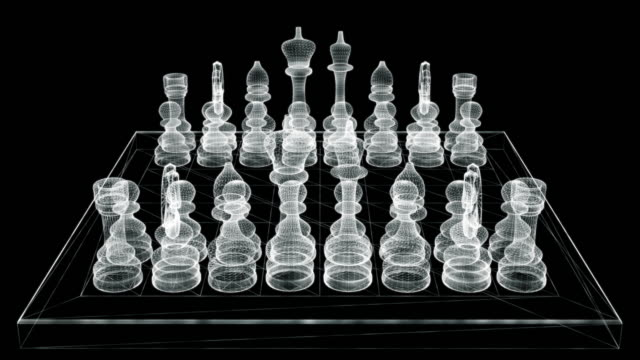 Hologram screen 3d of a chessboard - loop