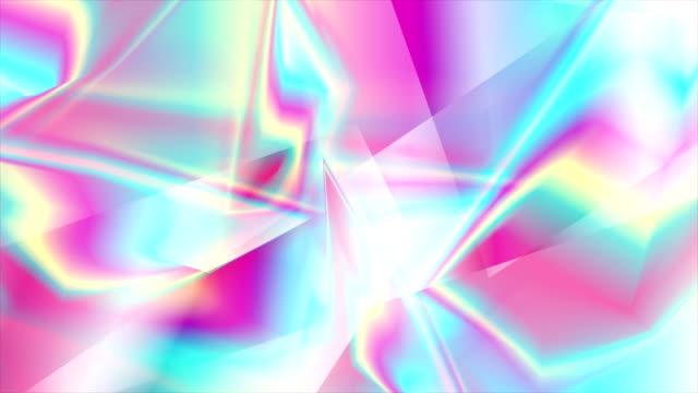 ホログラフィックガラスポリゴンシェイプ抽象的なビデオアニメーション - 玉虫色点の映像素材/bロール