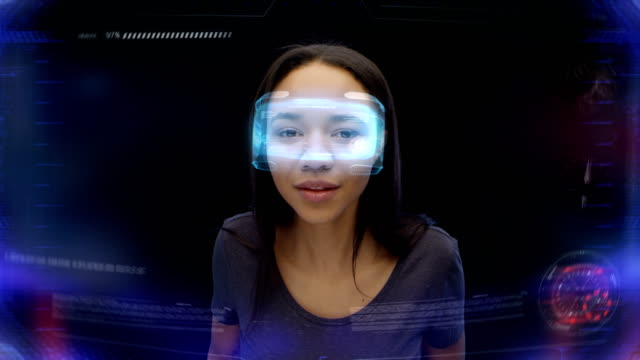 Holographic glasses. Curious woman frowning looking at imaginary, fascinating object video