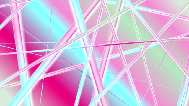 ホログラフィック光沢のあるストライプ抽象的なビデオアニメーション - 玉虫色点の映像素材/bロール