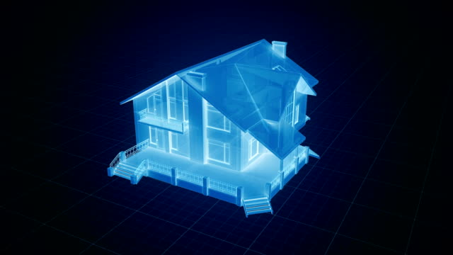 Holographic house being build on a grid in blue tone