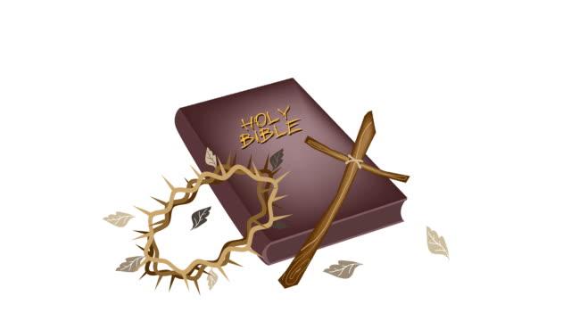 stockvideo's en b-roll-footage met heilige bijbel met houten kruis en kroon van thorn - nieuwe testament
