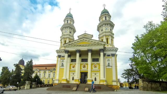 holy cross greek catholic cathedral in uzhhorod, ukraine - transcarpazia video stock e b–roll