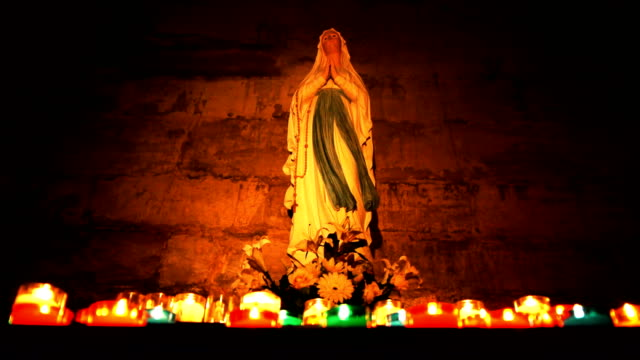 Holy statue of Mary in a cathedral video