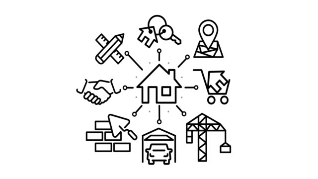 home building process Icon set construction of a house, home building process. home icon stock videos & royalty-free footage