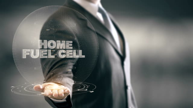 Home Fuel Cell with hologram businessman concept