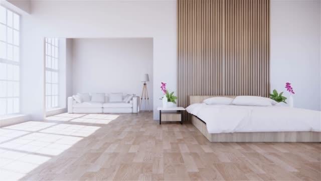 la parete interna della casa si beffa con letto in legno nel design minimale della camera da letto. rendering 3d. - decorazione festiva video stock e b–roll