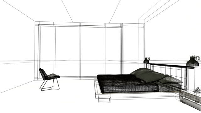 Home interiors wireframe animation