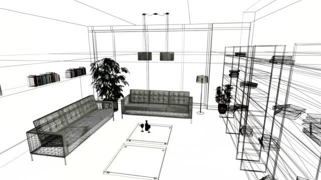 vídeos de stock e filmes b-roll de home interiors wireframe animation - coffee table