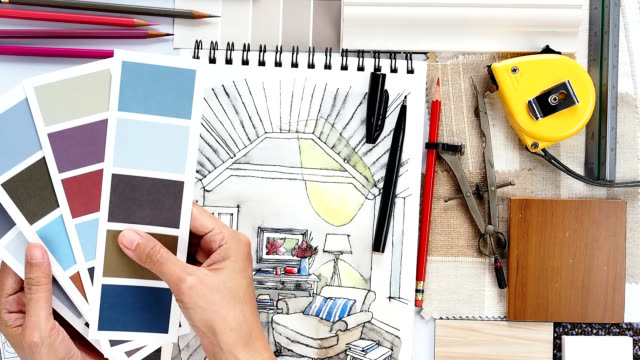 Home renovation & decoration concept Interior designer& architect working as home decoration and renovation concept interior designer stock videos & royalty-free footage