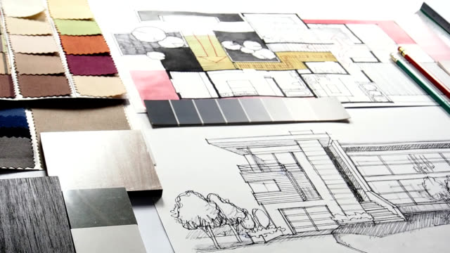 Home renovation & improvement concept Top view of architect & interior designer's working table with hand-drawn illustration and material sample / Home renovation & improvement concept interior designer stock videos & royalty-free footage
