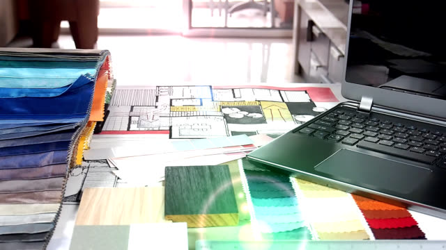 Home renovation & improvement concept Top view of architect & interior designer working table with hand-drawn illustration and material sample / Home renovation & improvement concept fabric swatch stock videos & royalty-free footage
