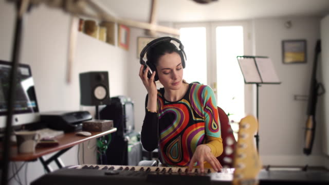 Home studio pianist woman