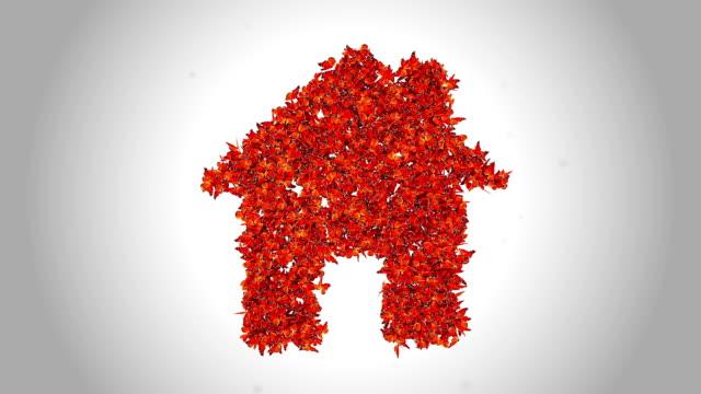 ホームシンボルで作られたオレンジ色の蝶-α - 住宅ローンとローン点の映像素材/bロール