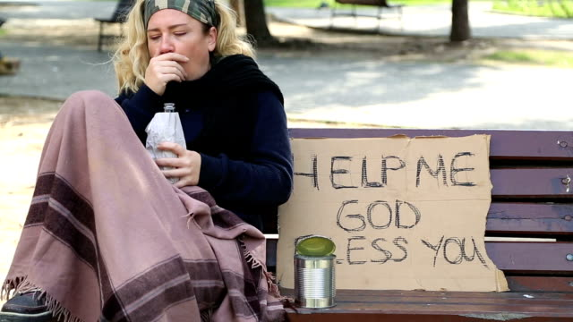 Homeless alcoholic woman video
