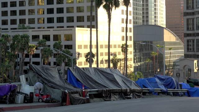 Homeless encampment on the sidewalk in Los Angeles