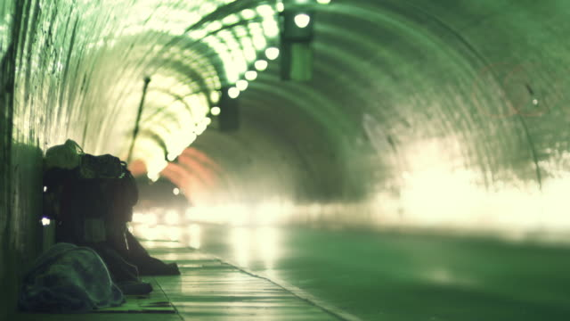homeless in a tunnel - homelessness stock videos & royalty-free footage