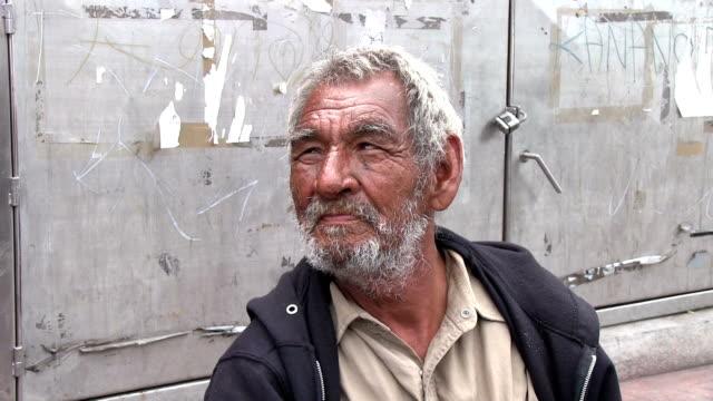 homeless man close up face in Mazatlan Mexico video