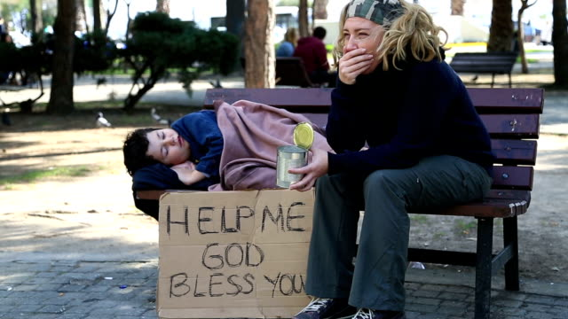 homeless mother and son - homelessness stock videos & royalty-free footage