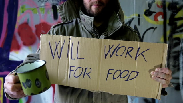 HD DOLLY: Homeless Person Will Work For Food video