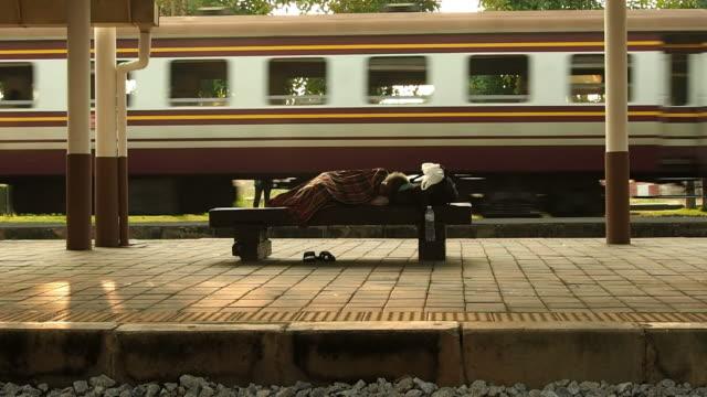 Homeless Sleep on Bench video