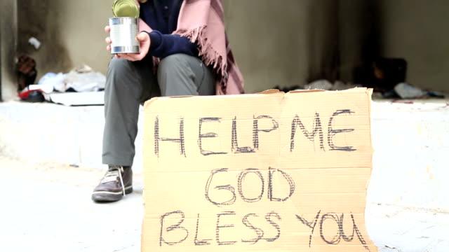 Homeless woman begging video