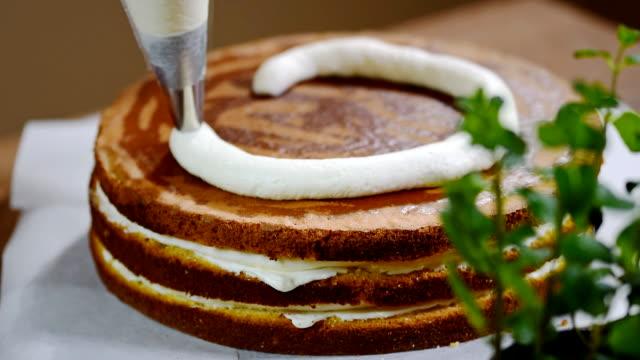 Homemade cream cake with peaches video