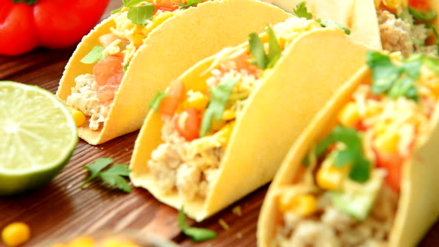 Homemade delicious tacos with chicken and vegetables video