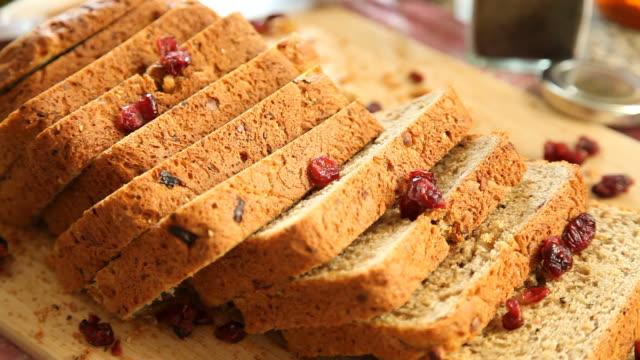 homemade fresh bread food background - sesamo video stock e b–roll
