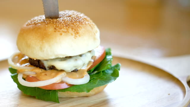 homemade hamburger. video