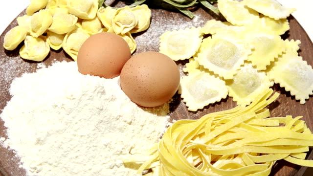 homemade pasta composition of fresh Italian pasta ravioli stock videos & royalty-free footage