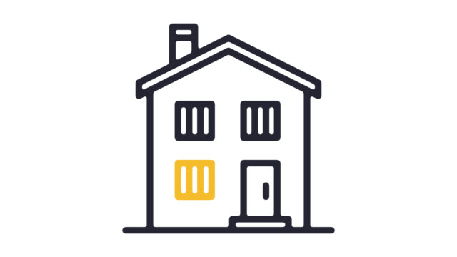 Homeowners Insurance Line Icon Animation with Alpha
